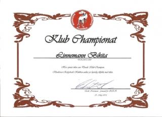 Bikita\'s flotte diplom fra RRK, der bekræfter at hun har opnået titlen Dansk Klub Champion